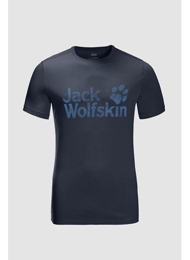 Jack Wolfskin Wolf Logo Erkek Outdoor Tişört Koyu Mavi Mavi